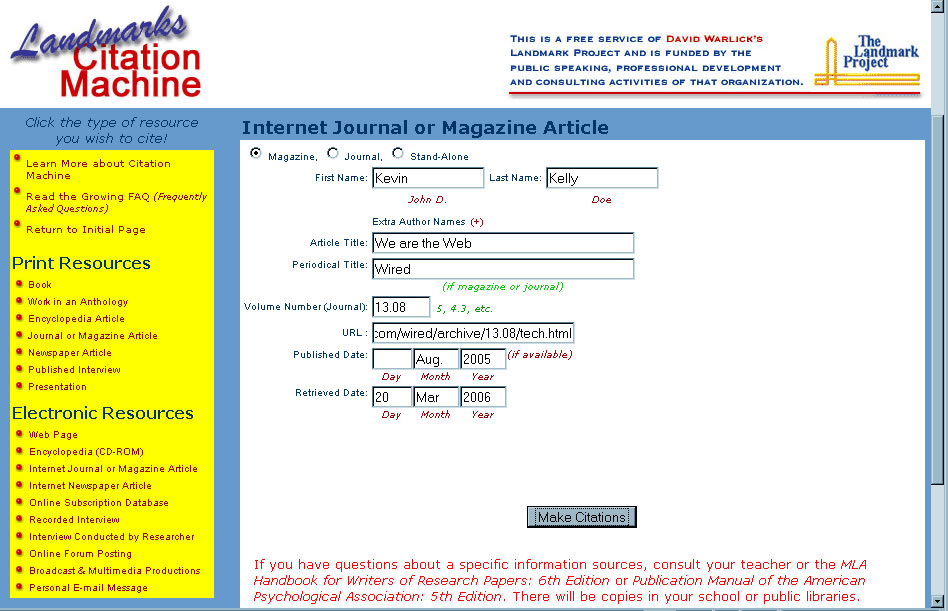 citation machine journal article