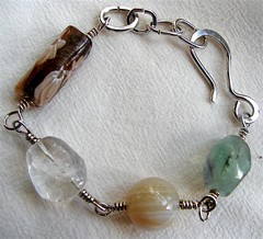 sterling silver linked botswana agate, quartz crystal and rainbow flourite bracelet
