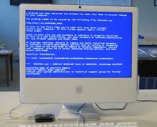 Pantallazo azúl de la muerte en un iMac