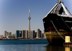 CN Tower and Ship
