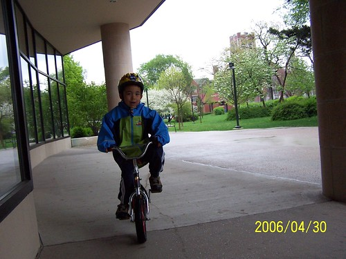 Biking in front of the library