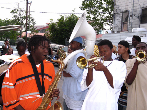 Brass band outside the Fair Grounds