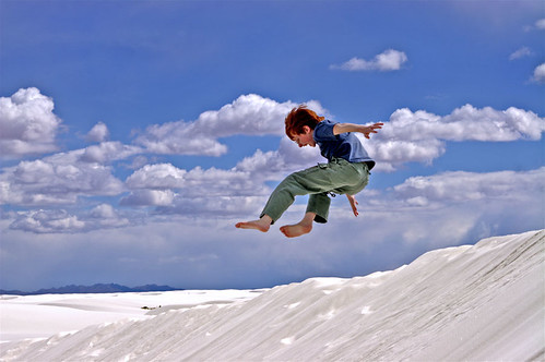 Soren Jumping at White Sands
