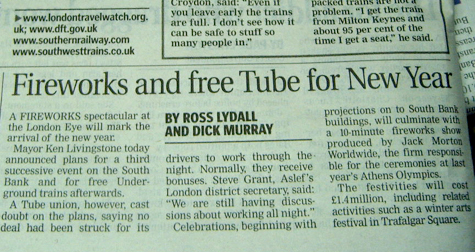 Free Tube Travel for New Year - On or Off?