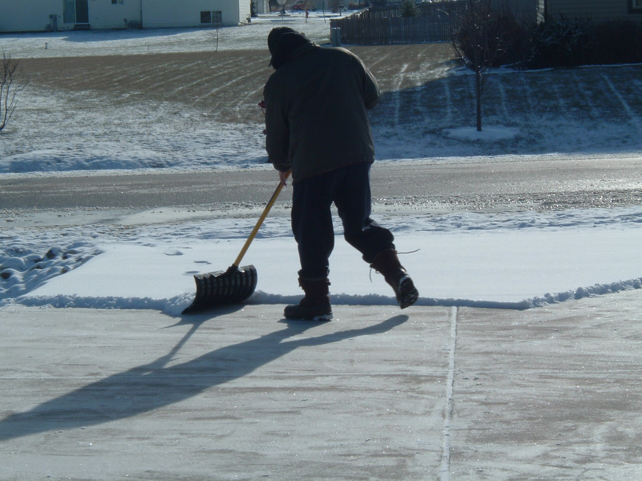 shoveling the driveway