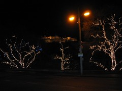Edinburgh Christmas Lights 2005 along Princes St, infront of Edinburgh Castle