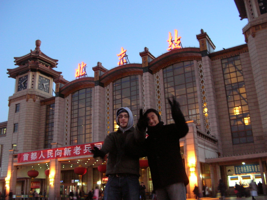 beijing train station at sunset
