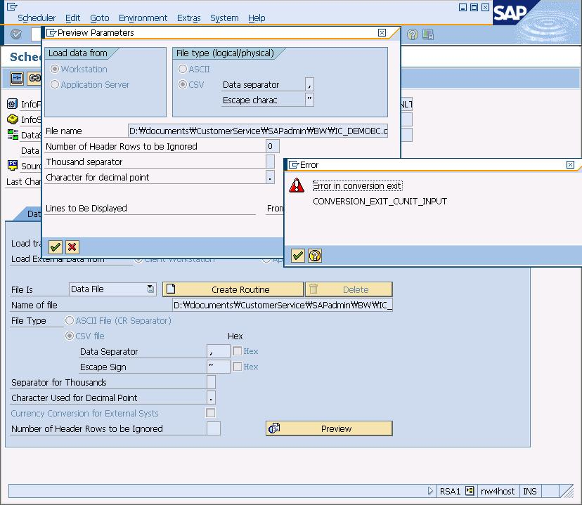 Error in conversion exit CONVERSION_EXIT_CUNIT_INPUT