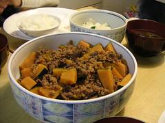 牛肉と南瓜の甘辛煮