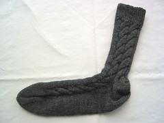 Grey Cabled Socks - sock 1
