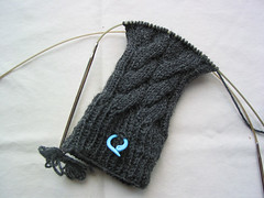 Grey Cabled Socks - sock 2