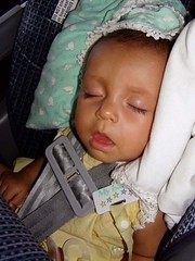 Daniela Sleeping in the car