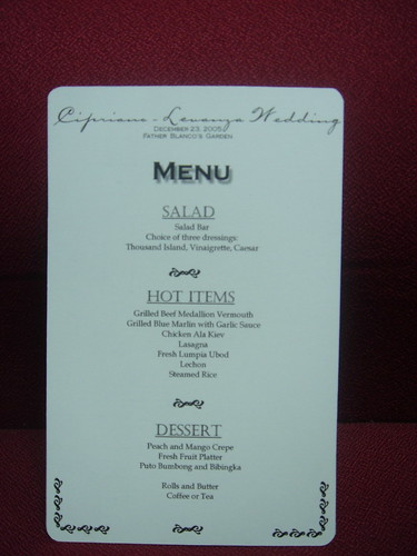 Menu Cards For Buffets