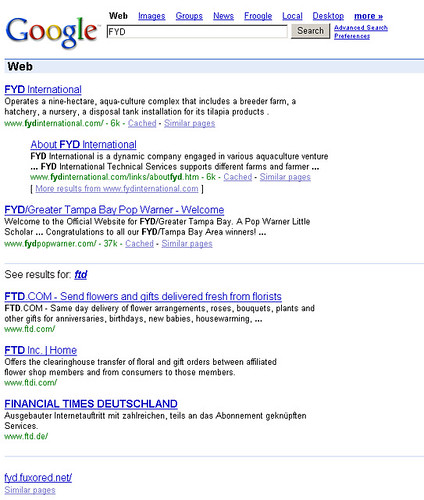Google alternate results