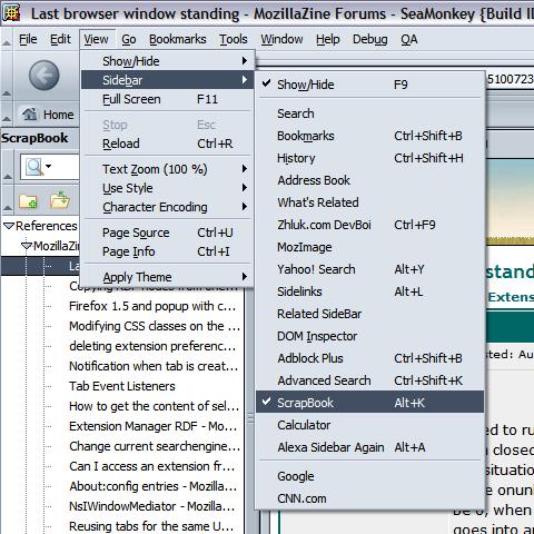 xSidebar's View::Sidebar menu