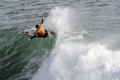 Surfer tames a wave at Santa Cruz