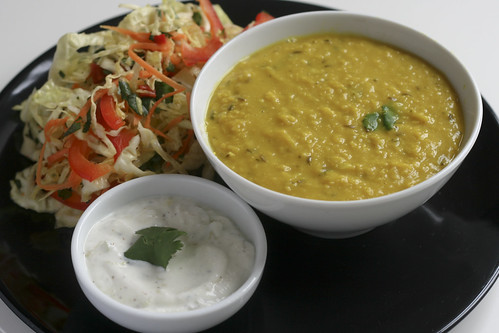 Dal with Raita and Cabbage Salad