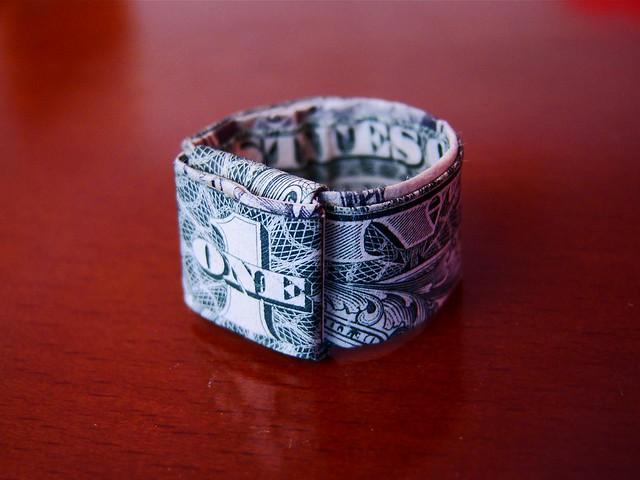 Money Origami Ring Dime
