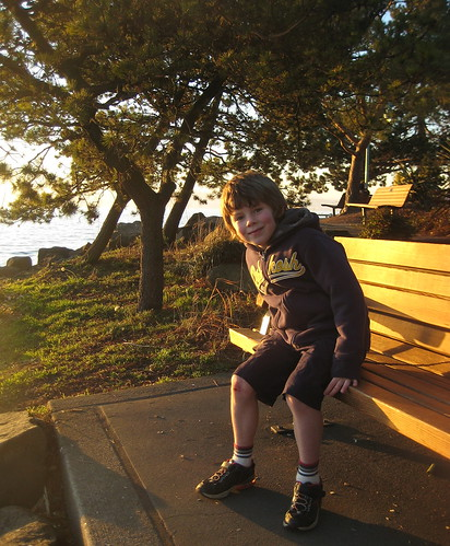 h on a bench
