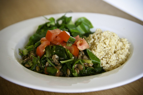 Lunch: Lentils and Greens with Quinoa and Tomatoes