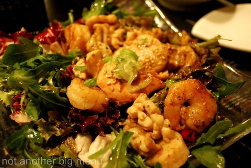 Seafood salad, prawn, salmon and scallop £4.75