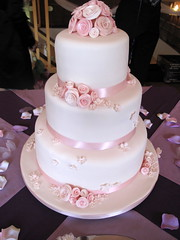 Pink Roses Wedding Cake - side view photo by creativecupcakes
