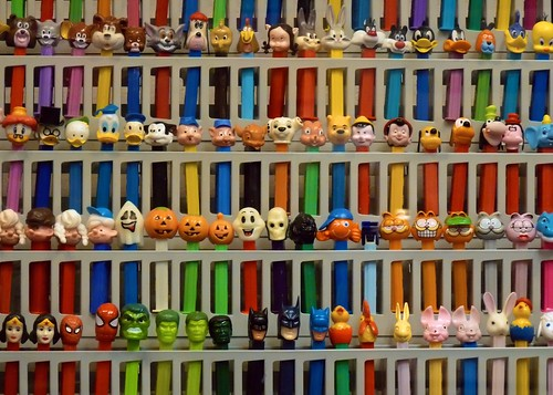 Wall of Pez Dispensers