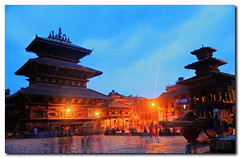 Nepal - Evening lights at Bhaktapur photo by dhilung