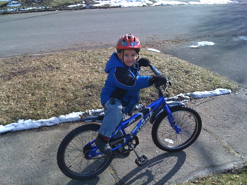 Isaac on his new Bike