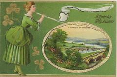 St. Patricks Day Pipe Smoking Young Lass Irish American Postcard 30
