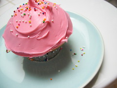 cupcake pink on blue photo by simple up