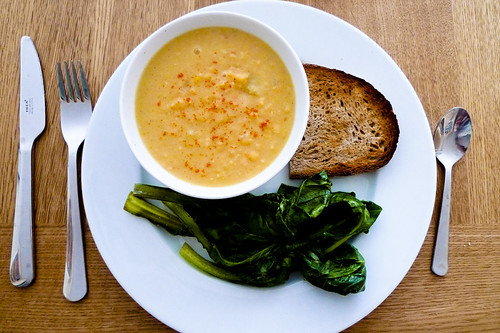 Split Pea Soup with Braised Spinach and Sourdough Bread