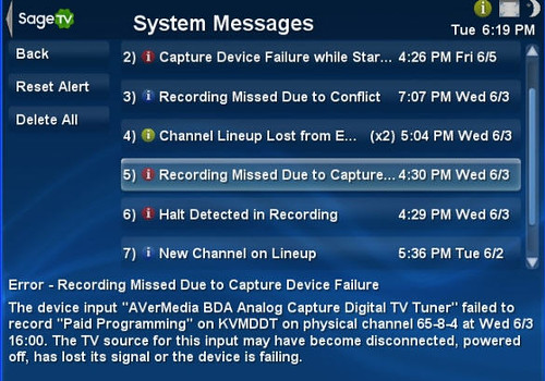SageTV System Messages