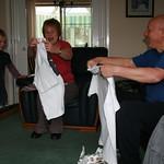 Nanny & Grandpa open their T-shirt presents.<br/>21 Mar 2009