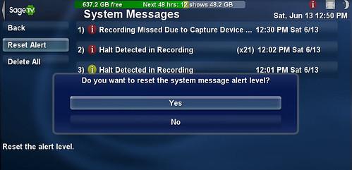 SageTV System Message Reset Alert