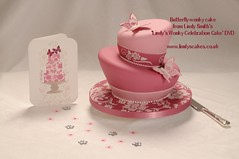 Stenciled Butterfly Wonky Wedding Cake from Lindy's wonky cake DVD photo by Lindy's cakes