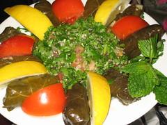 Warak enab mahshee (vine leaves stuffed with an aromatic mix of rice, parsley and spices) - £4.25