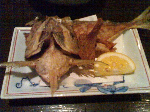The deep fried bits of the aji - I was so happy that I accidentally ate the decorative okra before taking the photo