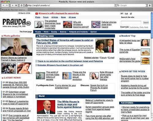 Pravda March 18 2006 Headline: US To Collapse on Feb 5 2006.