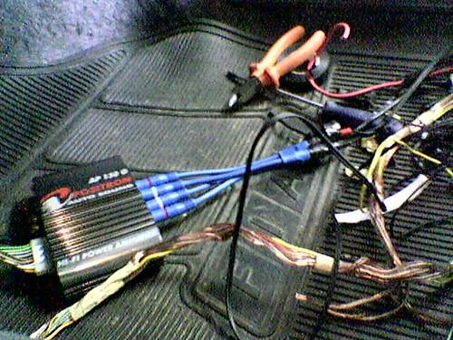 Foto das ligações entre os cabos e o módulo