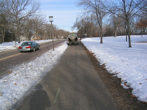 snowplow on the bike path