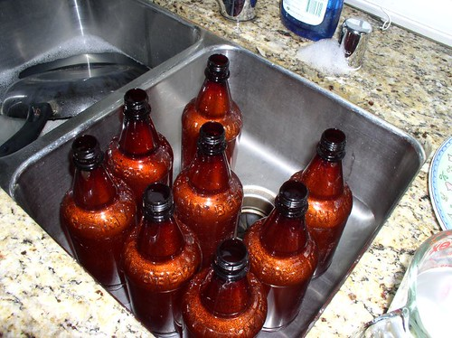 Sanitizing the beer bottles