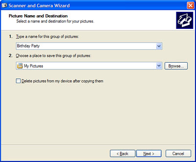Microsoft XP scanner and camera wizard