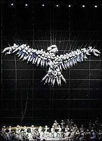 Dove of Peace created by human performers at the opening ceremony