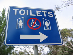 Toilet sign, Highway 1, Hobart to Launceston.