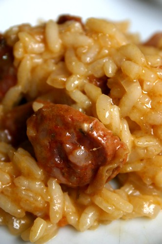 Risotto con chorizo colorado