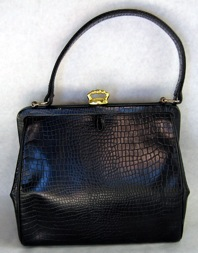 Coquette NY croco embosssed leather purse with crown clasp