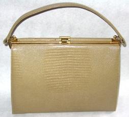 Coquette NY taupe lizard handbag