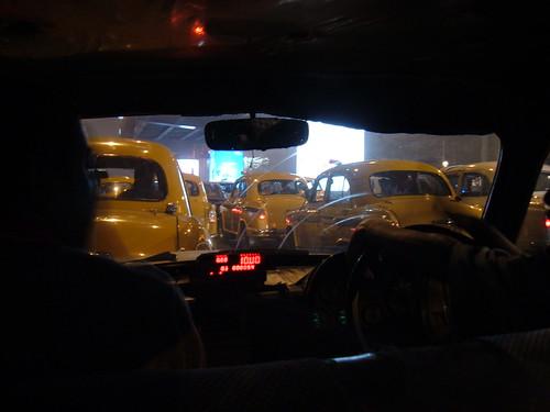 A Kolkata taxi jam