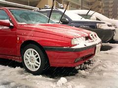 雪の日にタイヤ交換しました